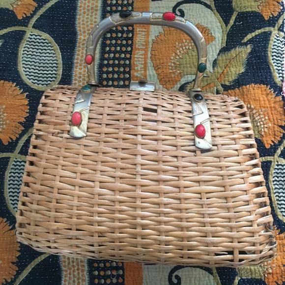 2d1a4ab9f634 Koret Bags | Rare Vintage Italy Woven Wicker Brass Bag | Poshmark